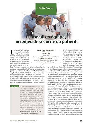 Le travail en équipe, un enjeu de sécurité du patient