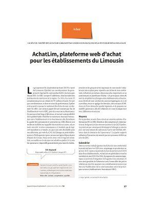 AchatLim, plateforme web d'achat pour les établissements du Limousin