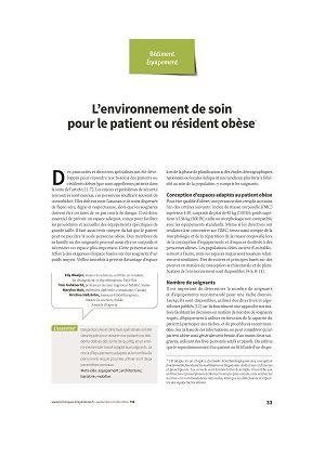 L'environnement de soin pour le patient ou résident obèse