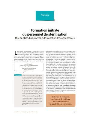 Formation initiale du personnel de stérilisation : processus de validation des connaissances