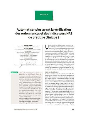 Automatiser plus avant la vérification des ordonnances et des indicateurs HAS de pratique clinique ?