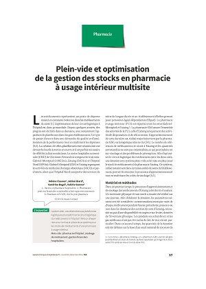 Plein-vide et optimisation de la gestion des stocks en pharmacie à usage intérieur multisite