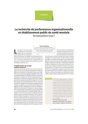 La recherche de performance organisationnelle en établissement public de santé mentale : de quoi parlons-nous ?