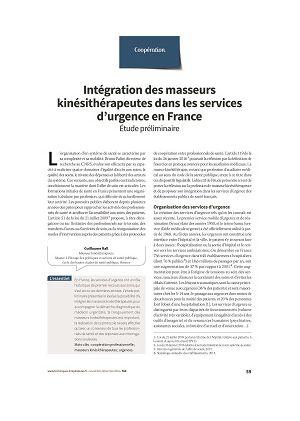 Intégration des masseurs kinésithérapeutes dans les services d'urgence en France. Étude préliminaire