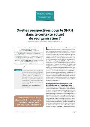 Quelles perspectives pour le SI-RH dans le contexte actuel de réorganisation ?