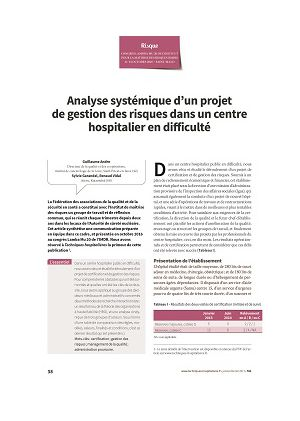 Analyse systémique d'un projet de gestion des risques dans un centre hospitalier en difficulté
