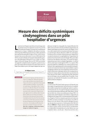 Mesure des déficits systémiques cindynogènes dans un pôle hospitalier d'urgences
