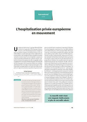 L'hospitalisation privée européenne en mouvement