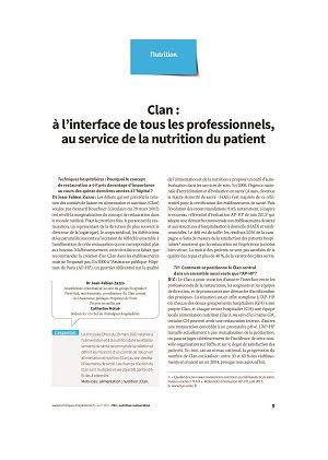 Clan : à l'interface de tous les professionnels, au service de la nutrition du patient