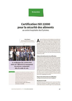 Certification ISO 22000 pour la sécurité des aliments au centre hospitalier des Pyrénées