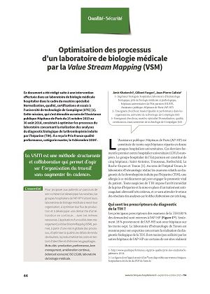 Optimisation des processus d'un laboratoire de biologie médicale par la Value Stream Mapping (VSM)