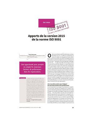 Apports de la version 2015 de la norme ISO 9001