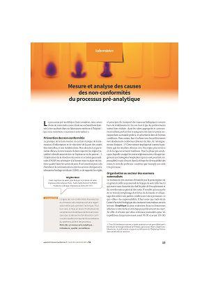Mesure et analyse des causes des non-conformités du processus pré-analytique