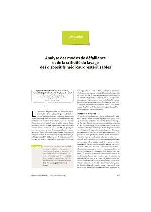 Analyse des modes de défaillance et de la criticité du lavage des dispositifs médicaux restérilisables