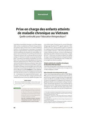 Prise en charge des enfants atteints de maladie chronique au Vietnam. Quelle continuité pour l'éducation thérapeutique ?