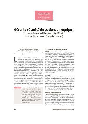 Gérer la sécurité du patient en équipe : la revue de morbidité et mortalité (RMM) et le comité de retour d'expérience (Crex)