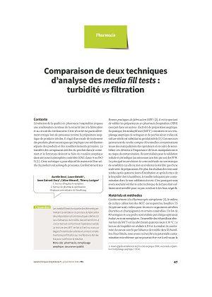 Comparaison de deux techniques d'analyse des media fill tests : turbidité vs filtration