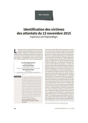 Identification des victimes des attentats du 13 novembre 2015. Expérience de l'hôpital Bégin