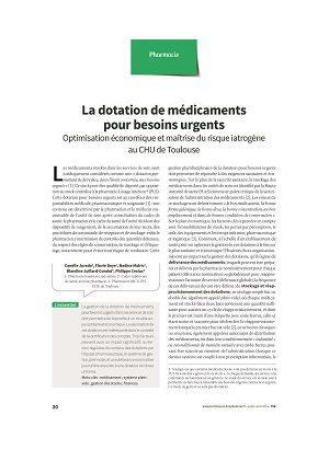 La dotation de médicaments pour besoins urgents : optimisation économique et maîtrise du risque iatrogène au CHU de Toulouse