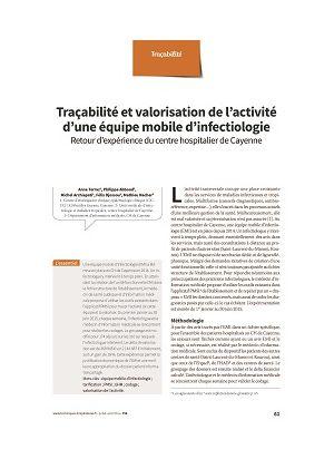 Traçabilité et valorisation de l'activité d'une équipe mobile d'infectiologie : retour d'expérience du centre hospitalier de Cayenne