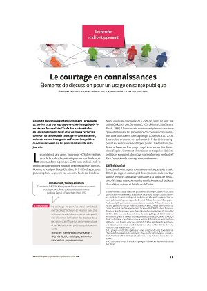 Le courtage en connaissances : éléments de discussion pour un usage en santé publique