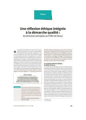 Une réflexion éthique intégrée à la démarche qualité : les directives anticipées au CHRU de Nancy