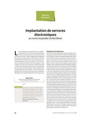 Implantation de serrures électroniques au centre hospitalier de Montfavet