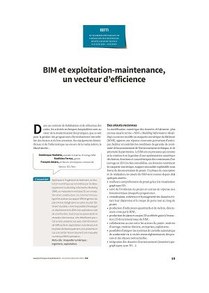 BIM et exploitation-maintenance, un vecteur d'efficience