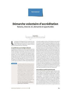 Démarche volontaire d'accréditation : raisons, choix de JCI, démarche et opportunités