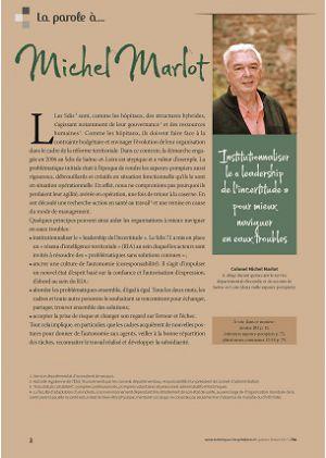 [accès libre] La parole à Michel Marlot - Institutionnaliser le « leadership de l'incertitude » pour mieux naviguer en eaux troubles