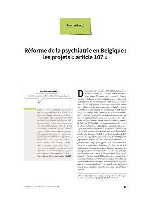 Réforme de la psychiatrie en Belgique : les projets « article 107 »