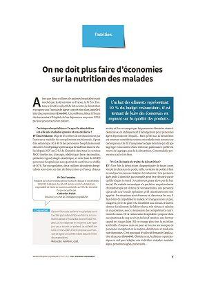On ne doit plus faire d'économies sur la nutrition des malades