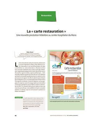 * La « carte restauration », une nouvelle prestation hôtelière au centre hospitalier du Mans