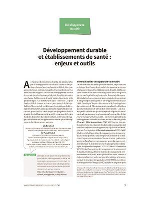 Développement durable et établissements de santé : enjeux et outils
