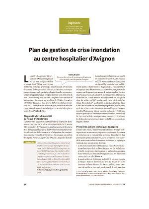 Plan de gestion de crise inondation au centre hospitalier d'Avignon