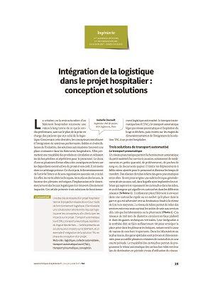 Intégration de la logistique dans le projet hospitalier : conception et solutions