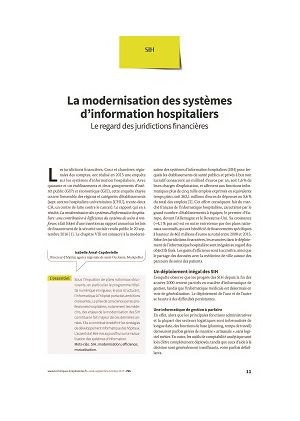 La modernisation des systèmes d'information hospitaliers. Le regard des juridictions financières
