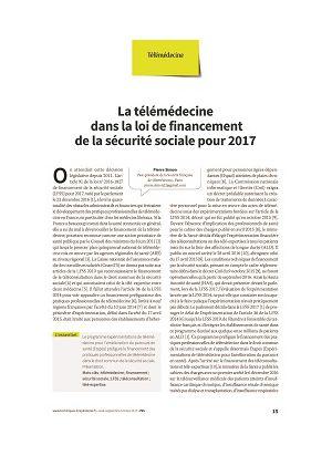 Le financement de la télémédecine dans la loi de financement de la sécurité sociale pour 2017