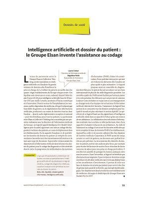 Intelligence artificielle et dossier du patient : le Groupe Elsan invente l'assistance au codage