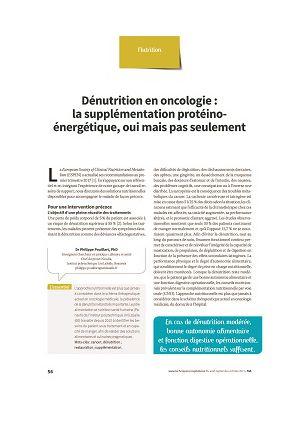 Dénutrition en oncologie : la supplémentation protéino-énergétique, oui mais pas seulement