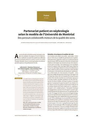 Belgique Partenariat patient en néphrologie selon le modèle de l'Université de Montréal. Des parcours collaboratifs moteurs de la qualité des soins