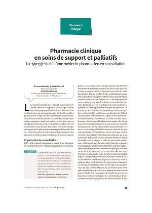 Pharmacie clinique en soins de support et palliatifs : la synergie du binôme médecin-pharmacien en consultation