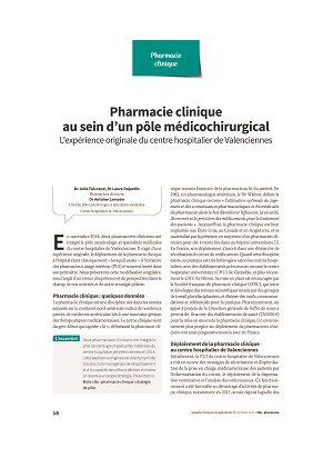 Pharmacie clinique au sein d'un pôle médicochirurgical : l'expérience originale du centre hospitalier de Valenciennes