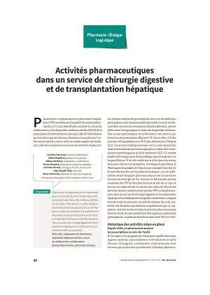 Activités pharmaceutiques dans un service de chirurgie digestive et de transplantation hépatique
