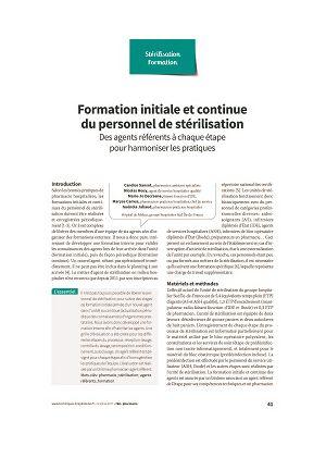 Formation initiale et continue du personnel de stérilisation. Des agents référents à chaque étape pour harmoniser les pratiques
