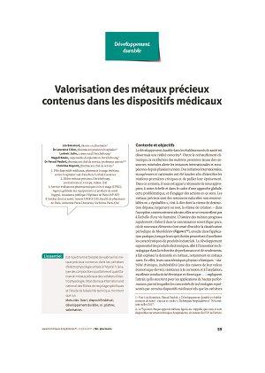 Valorisation des métaux précieux contenus dans les dispositifs médicaux