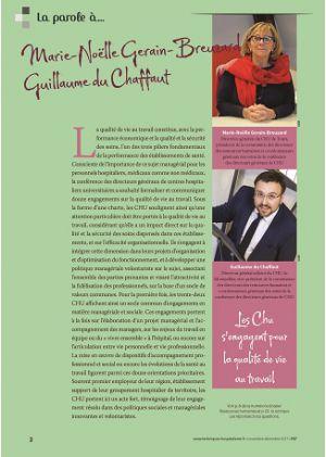 La parole à Marie-Noëlle Gerain-Breuzard et Guillaume du Chaffaut - Les CHU s'engagent pour la qualité de vie au travail