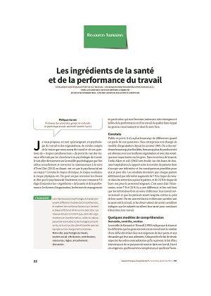 Les ingrédients de la santé et de la performance du travail