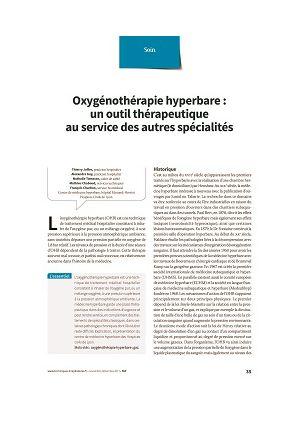 Oxygénothérapie hyperbare : un outil thérapeutique au service des autres spécialités