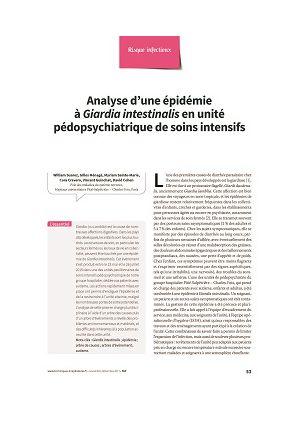 Analyse d'une épidémie à Giardia intestinalis en unité pédopsychiatrique de soins intensifs